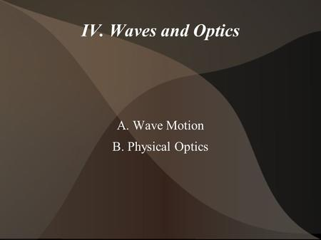 IV. Waves and Optics A. Wave Motion B. Physical Optics.