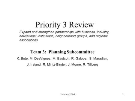 January Priority 3 Review Team 3: Planning Subcommittee K. Bute, M. DesVignes, M. Eastcott, R. Galope, S. Maradian, J. Ireland, R. Mintz-Binder,