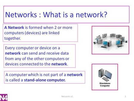 Networks : What is a network? A Network is formed when 2 or more computers (devices) are linked together. Every computer or device on a network can send.