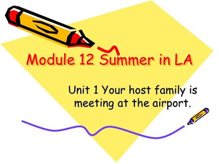 Module 12 Summer in LA Unit 1 Your host family is meeting at the airport.