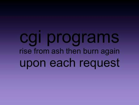 Cgi programs rise from ash then burn again upon each request.