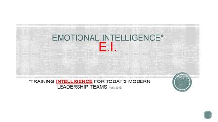 *TRAINING INTELLIGENCE FOR TODAY'S MODERN LEADERSHIP TEAMS (Yukl, 2012)