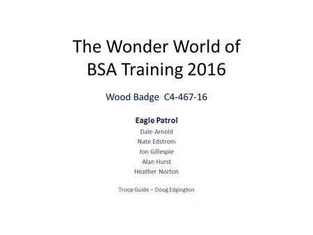 The Wonder World of BSA Training 2016 Wood Badge C Eagle Patrol Dale Arnold Nate Edstrom Jon Gillespie Alan Hurst Heather Norton Troop Guide –