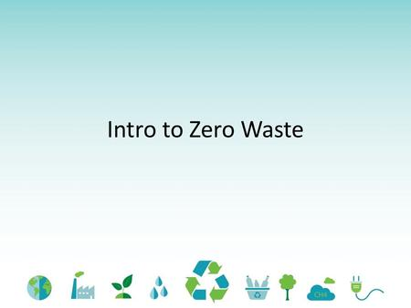 Intro to Zero Waste. Student Learning Outcomes By the end of this lesson, students will be able to: Identify the 3 key components of the Definition of.