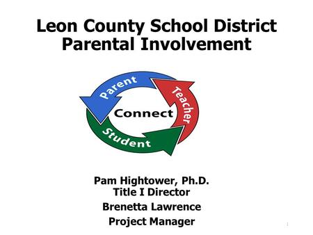 Leon County School District Parental Involvement Pam Hightower, Ph.D. Title I Director Brenetta Lawrence Project Manager 1.