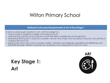 Wilton Primary School Key Stage 1: Art National Curriculum Requirements of Art at Key Stage 1 Pupils should be taught creativity in art, craft and design.