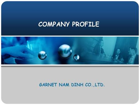 COMPANY PROFILE GARNET NAM DINH CO.,LTD.. Overview Overview Skilled experiences for garment production and speed management system of order follow up.