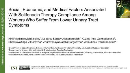 Social, Economic, and Medical Factors Associated With Solifenacin Therapy Compliance Among Workers Who Suffer From Lower Urinary Tract Symptoms Kirill.