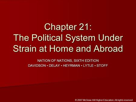 © 2007 McGraw-Hill Higher Education. All rights reserved. NATION OF NATIONS, SIXTH EDITION DAVIDSON DELAY HEYRMAN LYTLE STOFF Chapter 21: The Political.