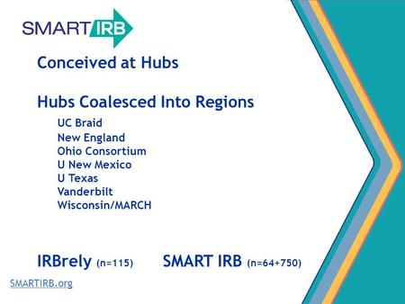 SMARTIRB.org Conceived at Hubs Hubs Coalesced Into Regions UC Braid New England Ohio Consortium U New Mexico U Texas Vanderbilt Wisconsin/MARCH IRBrely.