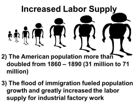 Increased Labor Supply 2) The American population more than doubled from 1860 – 1890 (31 million to 71 million) 3) The flood of immigration fueled population.