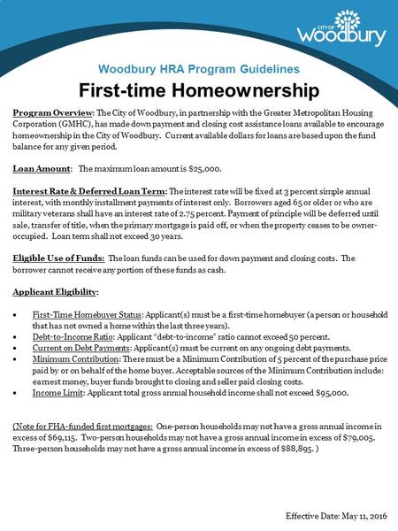 First-time Homeownership Woodbury HRA Program Guidelines Program Overview: The City of Woodbury, in partnership with the Greater Metropolitan Housing Corporation.