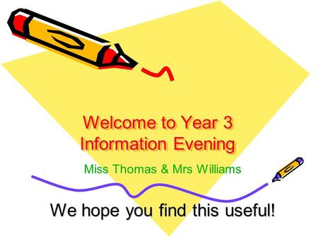 Welcome to Year 3 Information Evening We hope you find this useful! Miss Thomas & Mrs Williams.