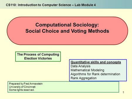 1 The Process of Computing Election Victories Computational Sociology: Social Choice and Voting Methods CS110: Introduction to Computer Science – Lab Module.
