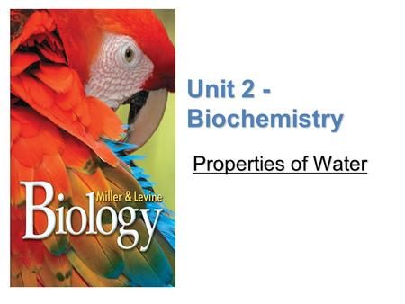 Lesson Overview Lesson Overview Properties of Water Unit 2 - Biochemistry Properties of Water.
