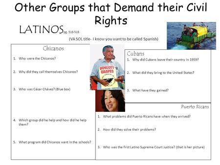 Other Groups that Demand their Civil Rights Chicanos 1.Who were the Chicanos? 2.Why did they call themselves Chicanos? 3.Who was César Chávez? (Blue box)