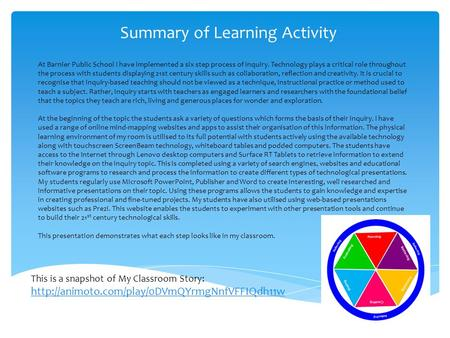 Summary of Learning Activity At Barnier Public School I have implemented a six step process of inquiry. Technology plays a critical role throughout the.