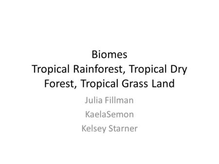 Biomes Tropical Rainforest, Tropical Dry Forest, Tropical Grass Land Julia Fillman KaelaSemon Kelsey Starner.