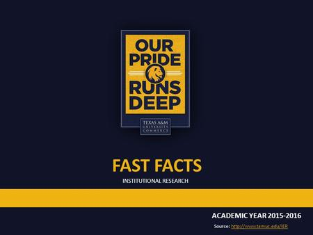 INSTITUTIONAL RESEARCH FAST FACTS ACADEMIC YEAR Source: