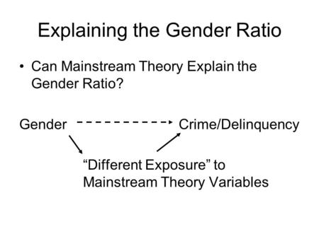"Explaining the Gender Ratio Can Mainstream Theory Explain the Gender Ratio? GenderCrime/Delinquency ""Different Exposure"" to Mainstream Theory Variables."