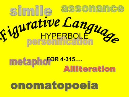 HYPERBOLE FOR 4-315….. I CAN…. UNDERSTAND HOW AUTHORS INCORPORATE FIGURATIVE LANGUAGE INTO TEXT TO ENHANCE MEANING. Craft and Structure: CCSS.ELA-LITERACY.CCRA.R.4.