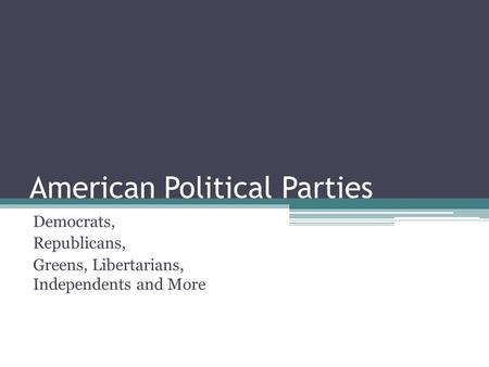 American Political Parties Democrats, Republicans, Greens, Libertarians, Independents and More.