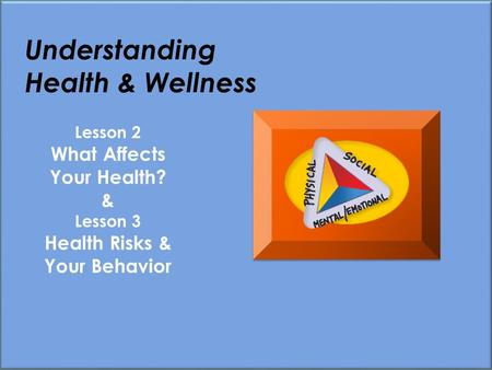 Understanding Health & Wellness Lesson 2 What Affects Your Health? & Lesson 3 Health Risks & Your Behavior.