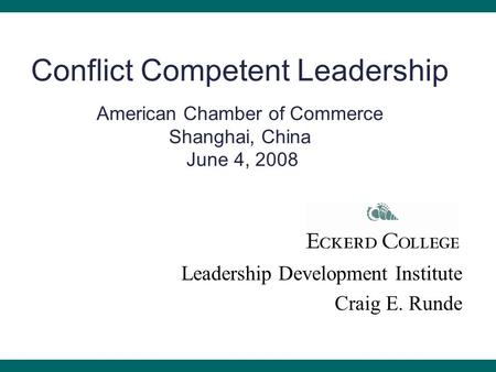 Developing Conflict-Competent Leaders