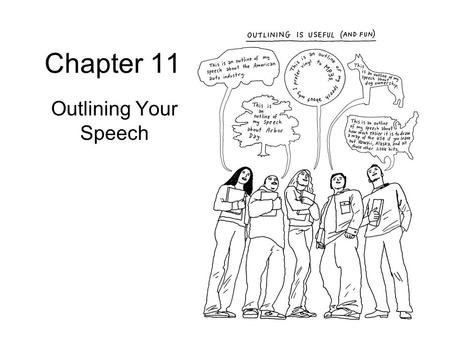 Chapter 11 Outlining Your Speech. Outlining Your Speech: Introduction Outlining helps you visually represent your ideas, enabling you to see if your speech.