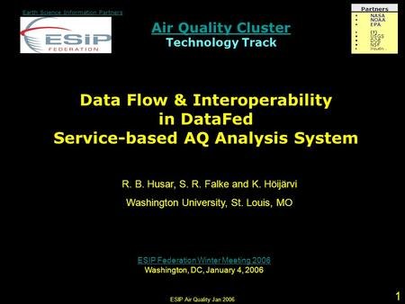 ESIP Air Quality Jan Air Quality Cluster Air Quality Cluster Technology Track Earth Science Information Partners Partners NASA NOAA EPA (?) USGS.