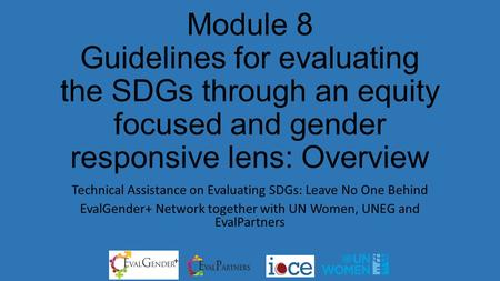 Module 8 Guidelines for evaluating the SDGs through an equity focused and gender responsive lens: Overview Technical Assistance on Evaluating SDGs: Leave.