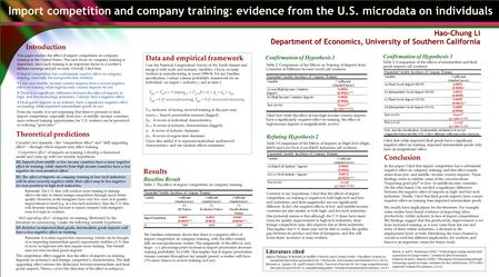 Import competition and company training: evidence from the U.S. microdata on individuals Hao-Chung Li Department of Economics, University of Southern California.