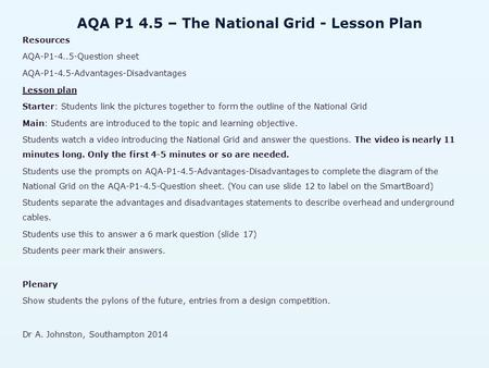 AQA P1 4.5 – The National Grid - Lesson Plan Resources AQA-P Question sheet AQA-P1-4.5-Advantages-Disadvantages Lesson plan Starter: Students link.