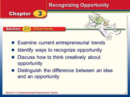 Recognizing Opportunity 1 Examine current entrepreneurial trends Identify ways to recognize opportunity Discuss how to think creatively about opportunity.
