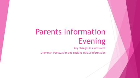 Parents Information Evening Key changes in Assessment Grammar, Punctuation and Spelling (GPaS) information.