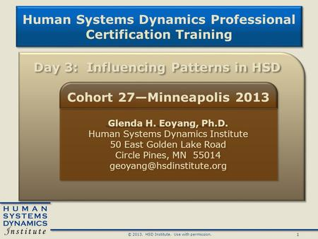 1 © HSD Institute. Use with permission. Human Systems Dynamics Professional Certification Training Human Systems Dynamics Professional Certification.