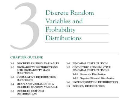 3.1 Discrete Random Variables Present the analysis of several random experiments Discuss several discrete random variables that frequently arise in applications.