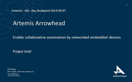 Artemis Arrowhead Enable collaborative automation by networked embedded devices Project brief 1 Pal Varga WP7 Leader, AITIA International.