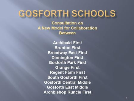 Consultation on A New Model for Collaboration Between Archibald First Brunton First Broadway East First Dinnington First Gosforth Park First Grange First.