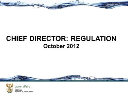 CHIEF DIRECTOR: REGULATION October WHY IS REGULATION IMPORTANT? (VALUE CHAIN) To ensure the protection, use, development, conservation, management.