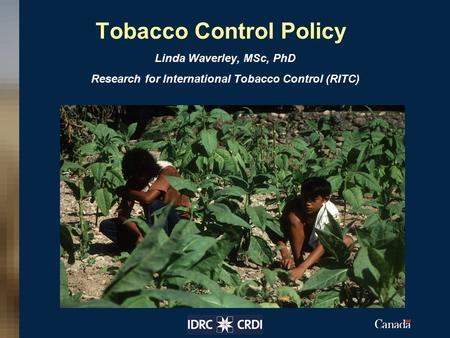 Tobacco Control Policy Linda Waverley, MSc, PhD Research for International Tobacco Control (RITC) Insert your image here.
