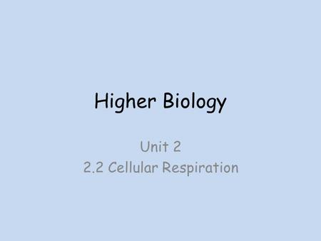 Higher Biology Unit Cellular Respiration. Respiration Respiration is a catabolic pathway that is controlled by different enzymes. It releases energy.