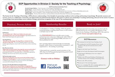 The Society for the Teaching of Psychology (STP) advances understanding of the discipline by promoting excellence in the teaching and learning of psychology.