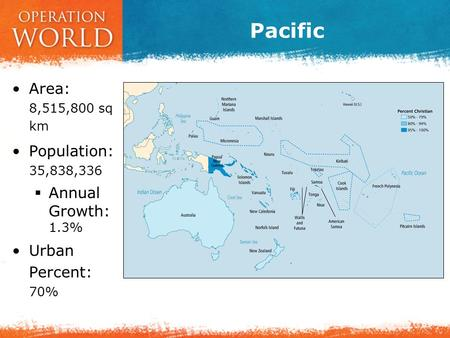 Pacific Area: 8,515,800 sq km Population: 35,838,336  Annual Growth: 1.3% Urban Percent: 70%