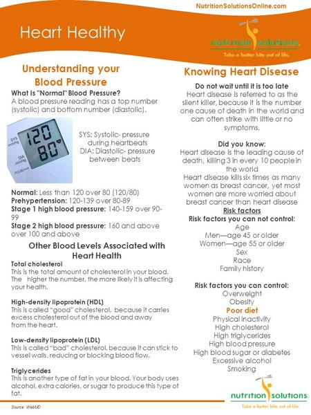 Understanding your Blood Pressure Heart Healthy Knowing Heart Disease Do not wait until it is too late Heart disease is referred to as the silent killer,
