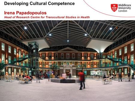 Developing Cultural Competence Irena Papadopoulos Head of Research Centre for Transcultural Studies in Health.