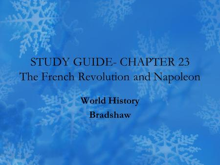Study guide for french revolution