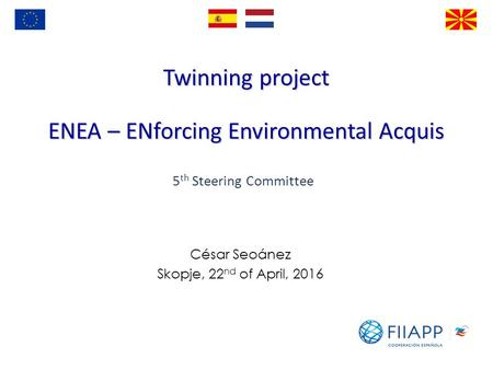 Twinning project ENEA – ENforcing Environmental Acquis César Seoánez Skopje, 22 nd of April, th Steering Committee.