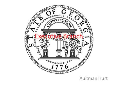 Executive Branch Aultman Hurt. Executive Branch Overview Largest branch in Georgia Was established in the Fifth Article of the Georgia Constitution Involves.