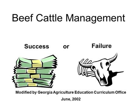Beef Cattle Management Success Failure or Modified by Georgia Agriculture Education Curriculum Office June, 2002.